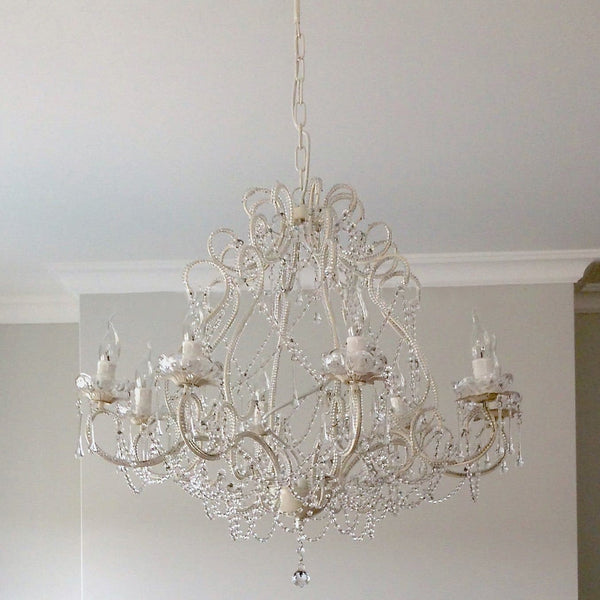 large french white provincial cream chandelier in dining room