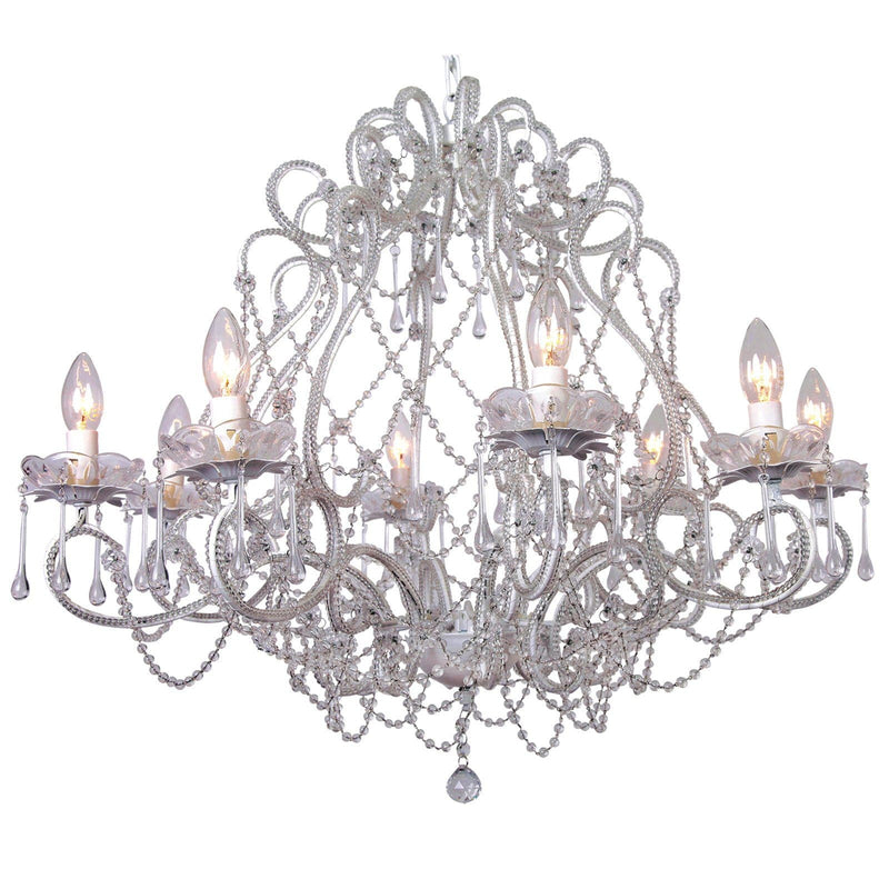 large french white provincial cream chandelier on white background