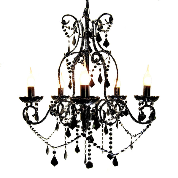 Shabby Black 5 Light Baroque Crystal Chandelier on a white background