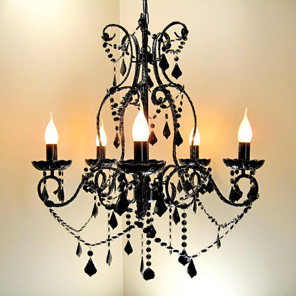 Shabby Black 5 Light Baroque Crystal Chandelier with lights on