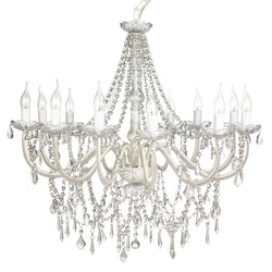 large french white shabby chic chandelier on white background