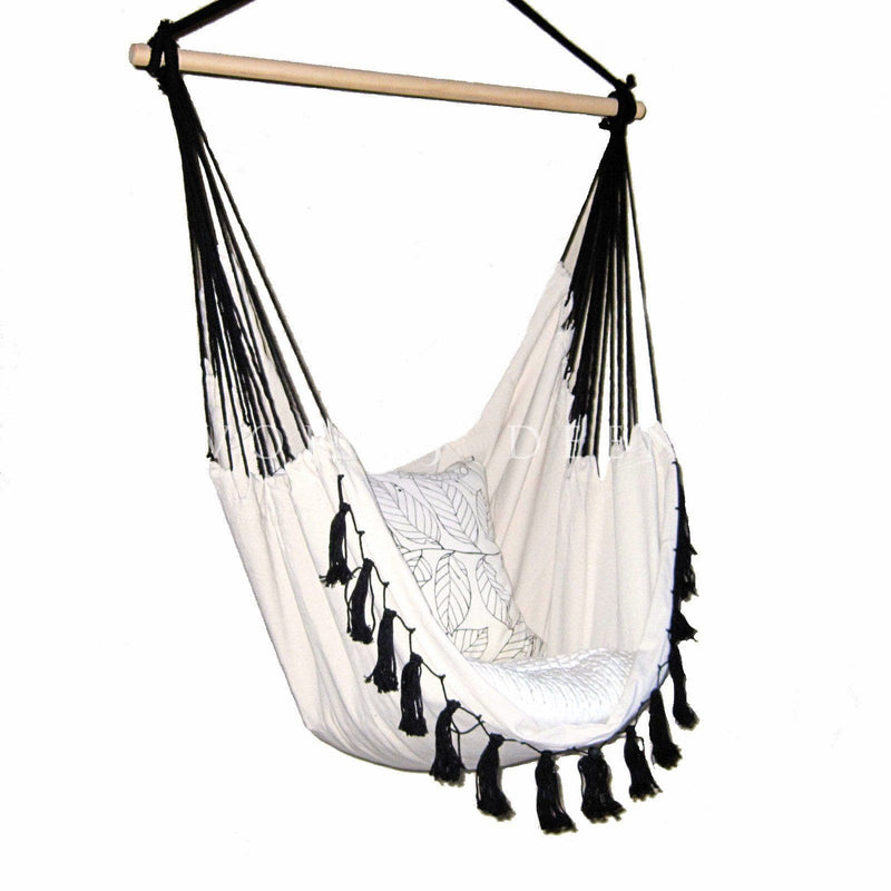 deluxe cream hammock chair with black tassels