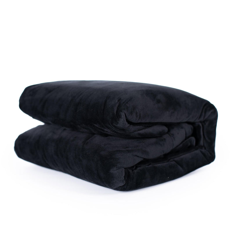 black velvet fur quilt cover set folded up on a white background