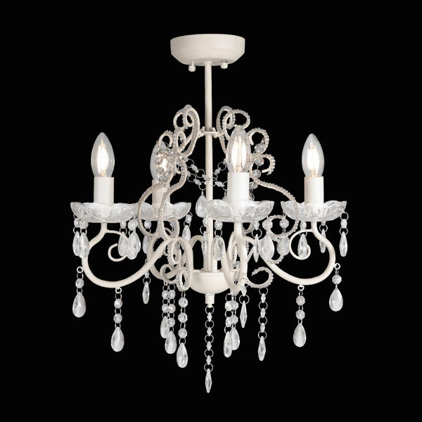 cream french provincial chandelier on white background