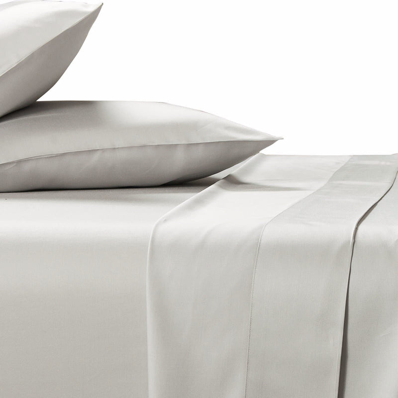bamboo sheet set in silver 400 thread count on white background ivory and deene