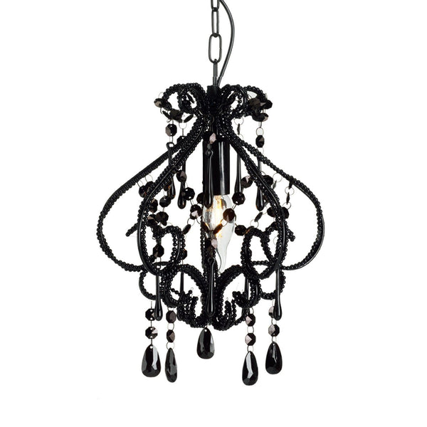 small black chandelier on white background