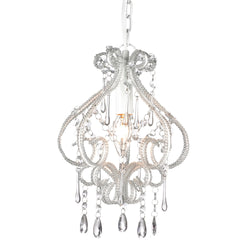 small white shabby chic chandelier on white background