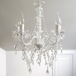 French White 5 Light Glass Crystal Chandelier - Cassie