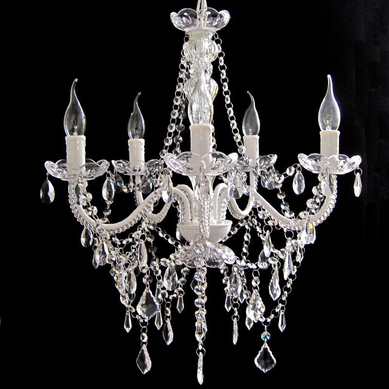 French White 5 Light Acrylic Crystal Chandelier - Cassie