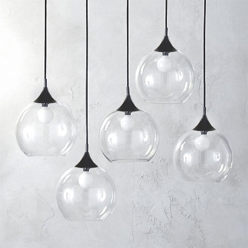 cluster of glass ball pendant lights