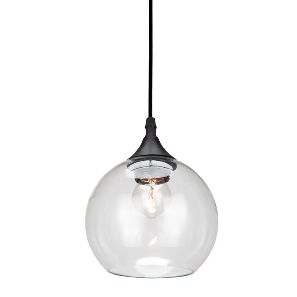 round bubble glass pendant light with black hardware
