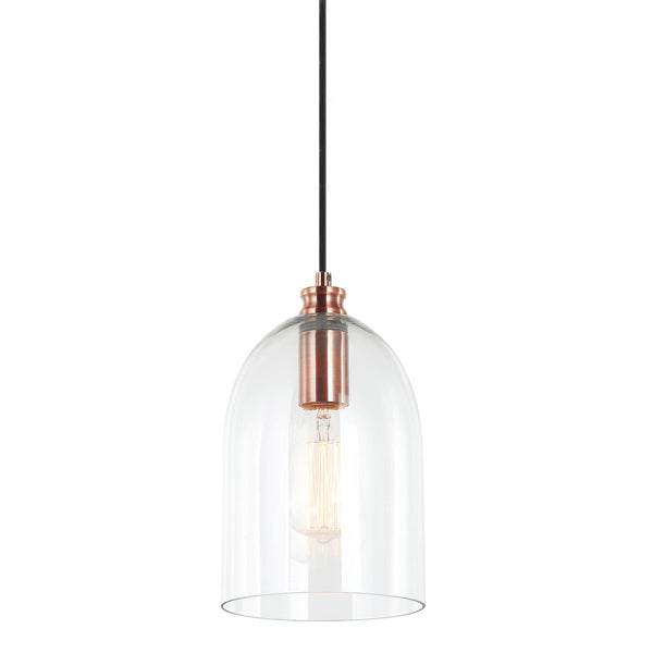 glass dome pendant light with copper fitting and a filament globe