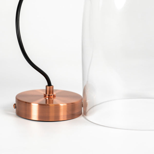 glass dome pendant light with copper hardware