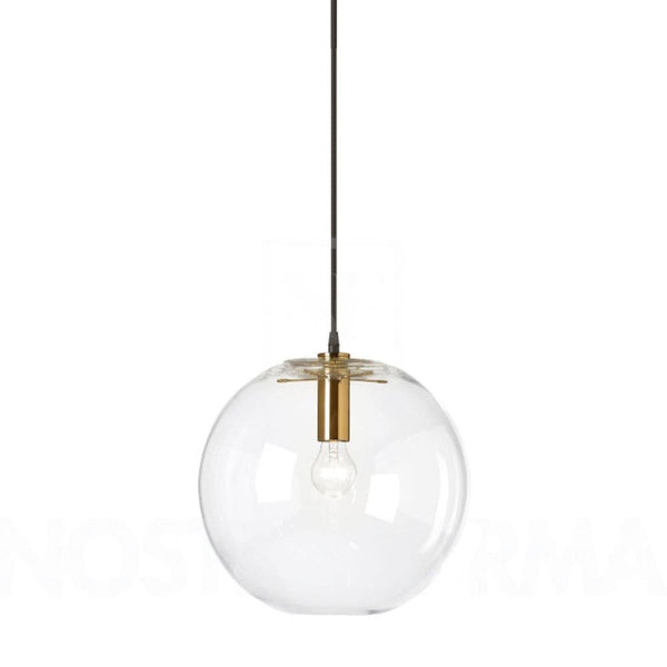 large round ball light with bronze metal detail on a white background