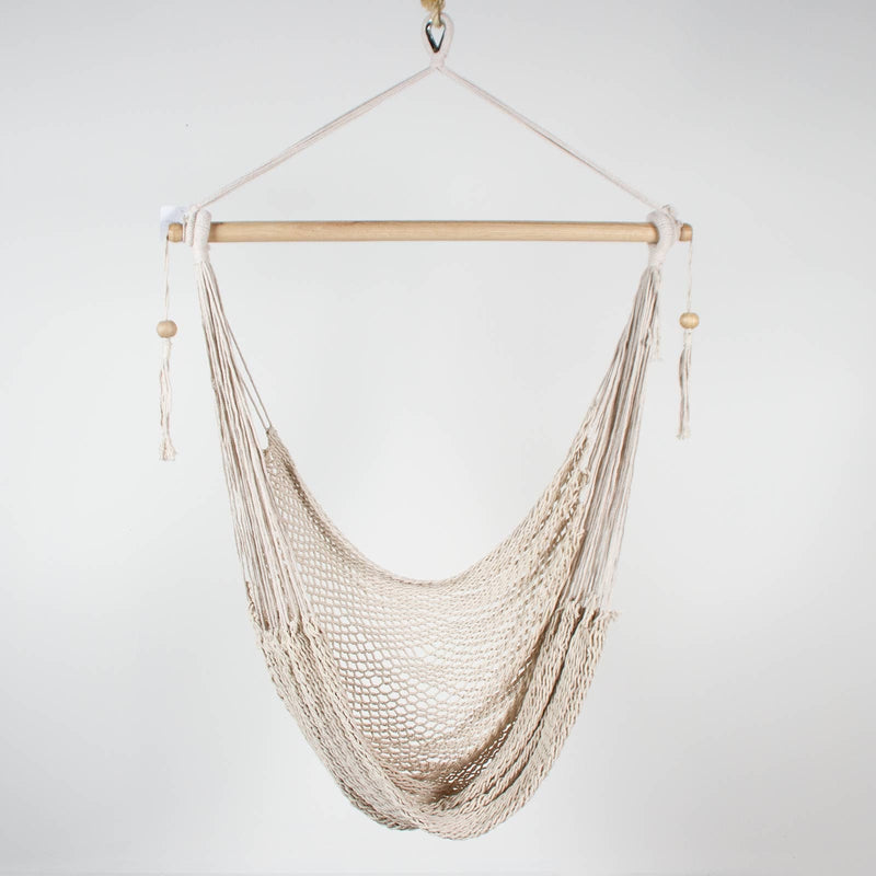 cream rope macrame hammock chair with bead detail