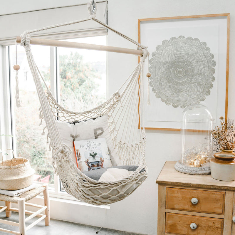 natural macrame rope hammock swing with wooden beads inside boho feel