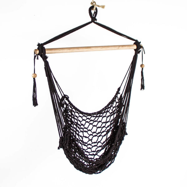 salvador black rope hammock swing with wooden rod and beads