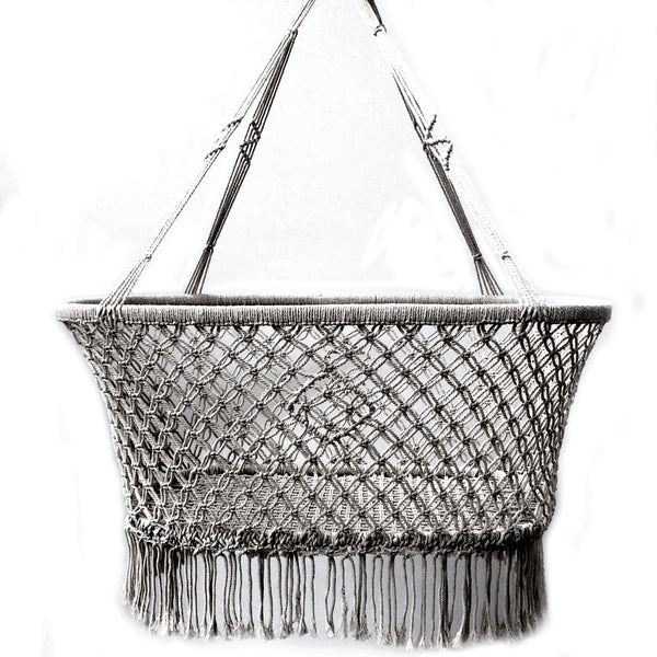 Macrame Hanging Baby Bassinet - Grey