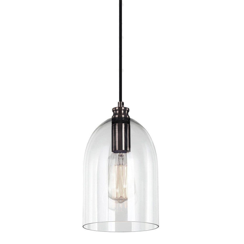 glass dome pendant light with pearl black fitting and a filament globe