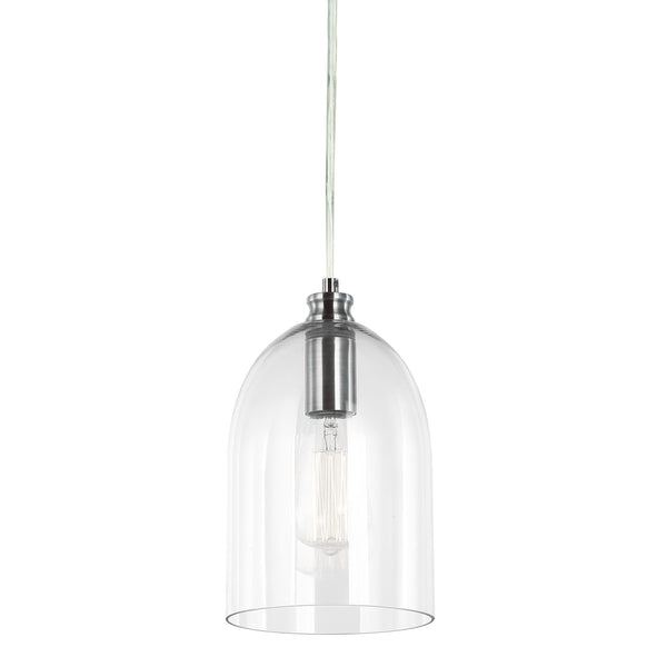 glass dome pendant light with chrome fitting and a filament globe