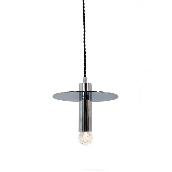 bentley disc pendant light in chrome with a black twisted cord and a round bulb globe