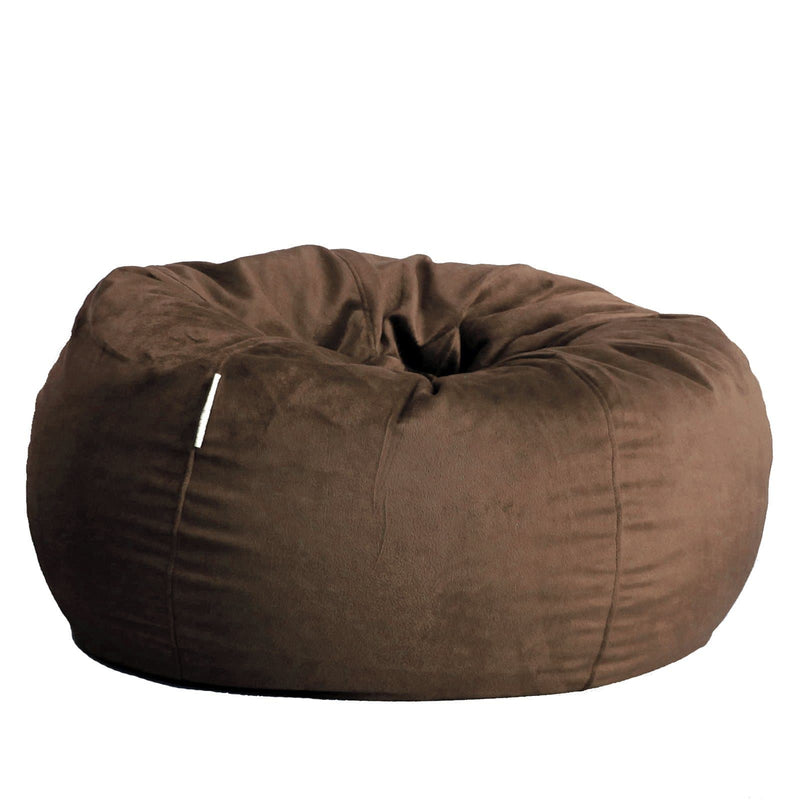 extra large fur beanbag in espresso coffee colour dark brown chocolate on white background