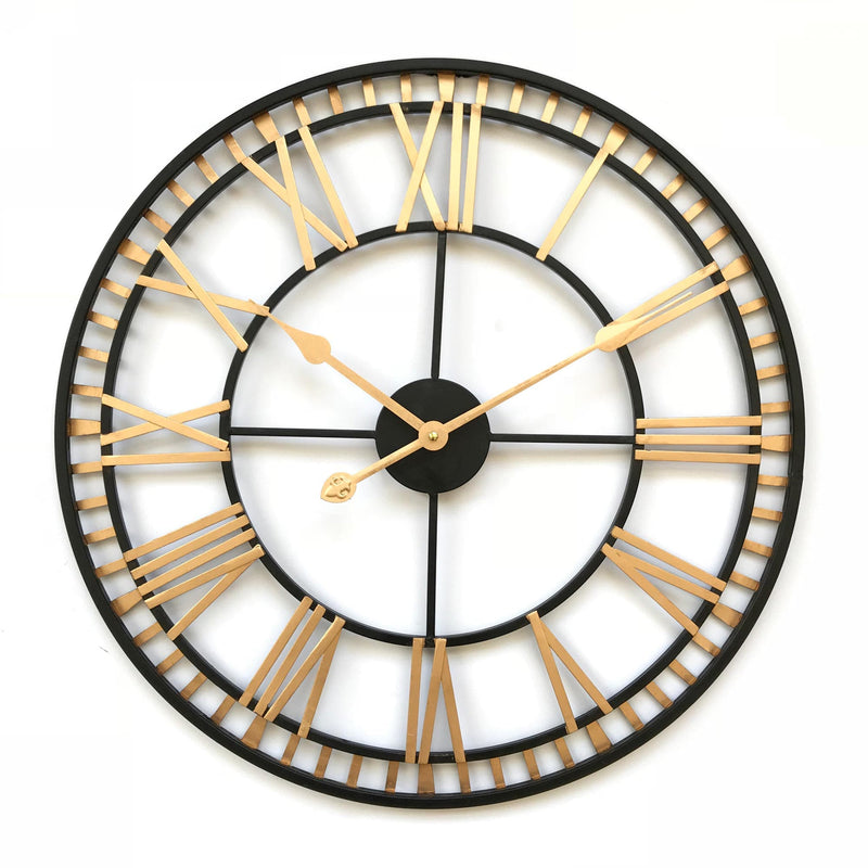 large black and gold clock with roman numerals on a white background