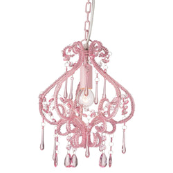 darling pink chandelier on white background