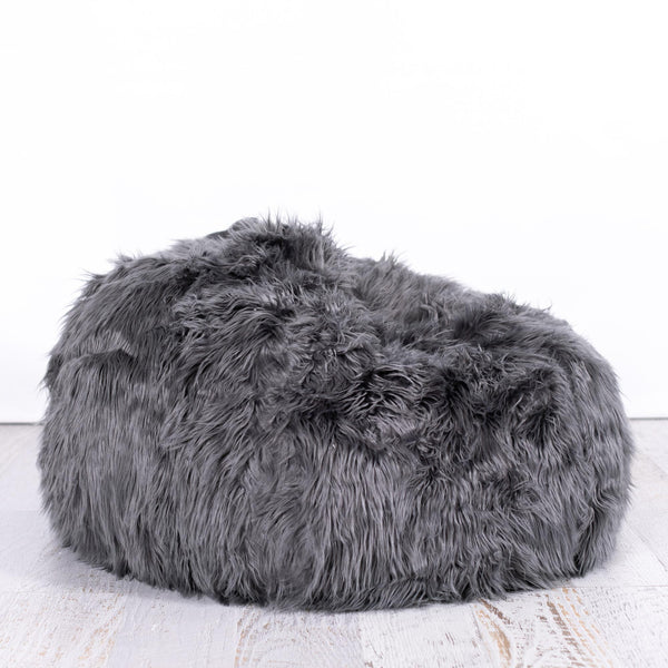 Lush Fur Bean Bag - Charcoal - 2 Sizes Available
