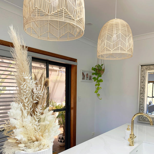 Natural Rattan Lace Pendant Light - Amalfi - 2 Sizes