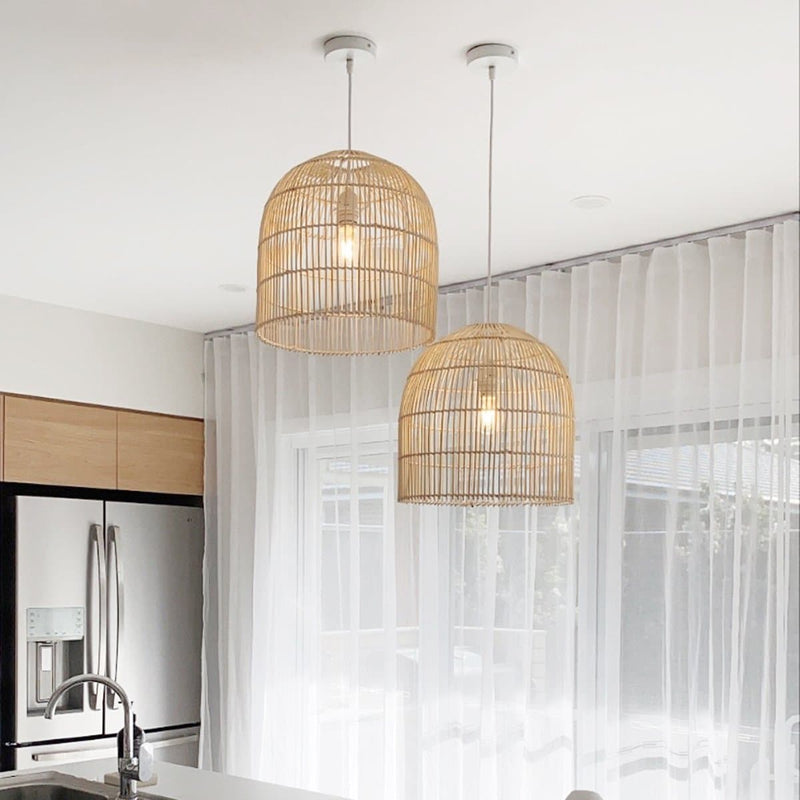 cane pendant light hanging in a kitchen