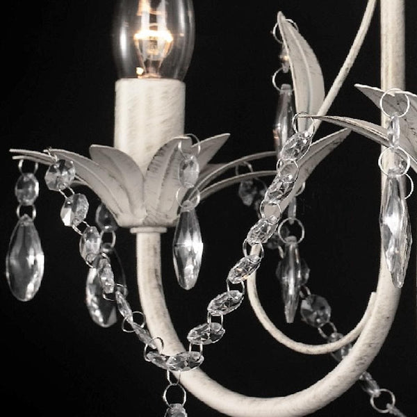 distressed white shabby chic chandelier with glass crystals