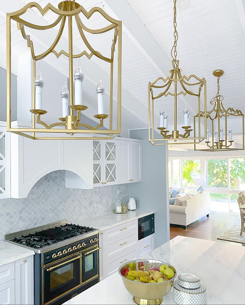 box pendant light with luxury gold painting