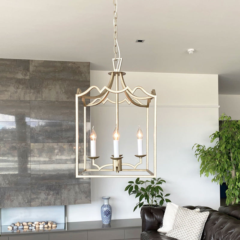 grand box pendant lantern light hanging in a lounge living area
