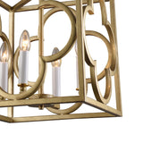 detail of a modern box frame lantern pendant hanging over an island