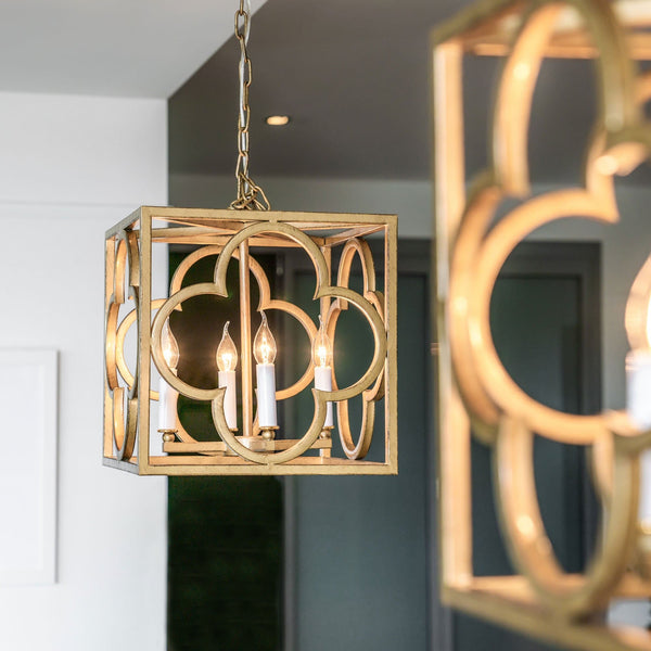 close up of a modern box frame lantern pendant hanging over an island