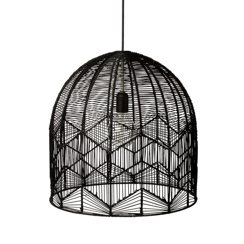 black rattan lace cane pendant light on a white background