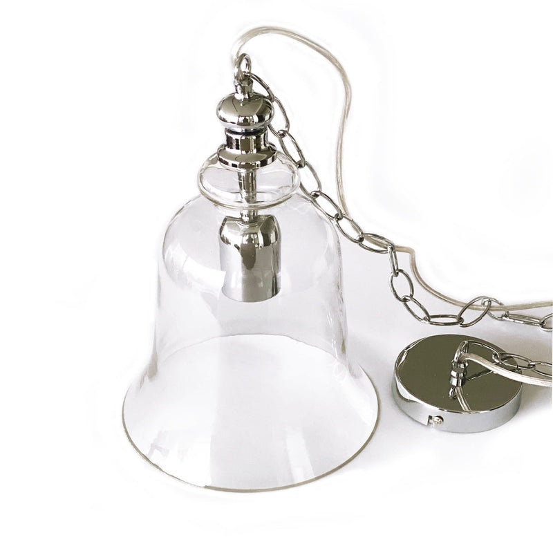 bell shape glass pendant light with chrome hardware on a white background