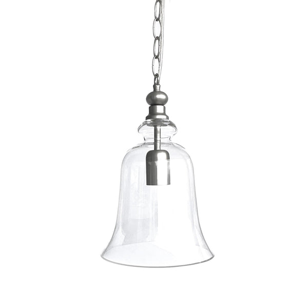 matt silver glass bell shape pendant light on a white background