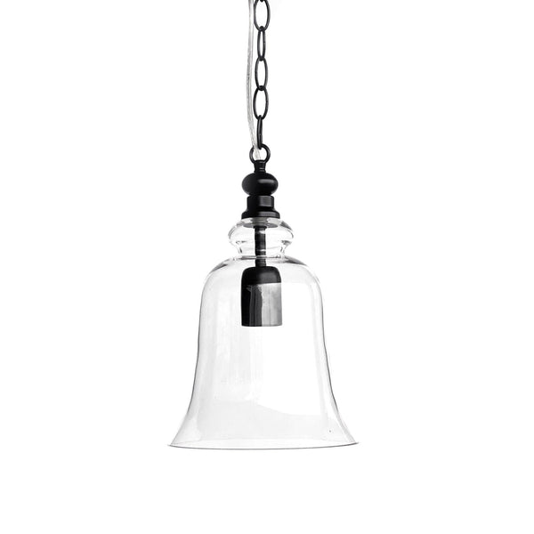 glass pendant light in a bell shape with black hardware on a white background