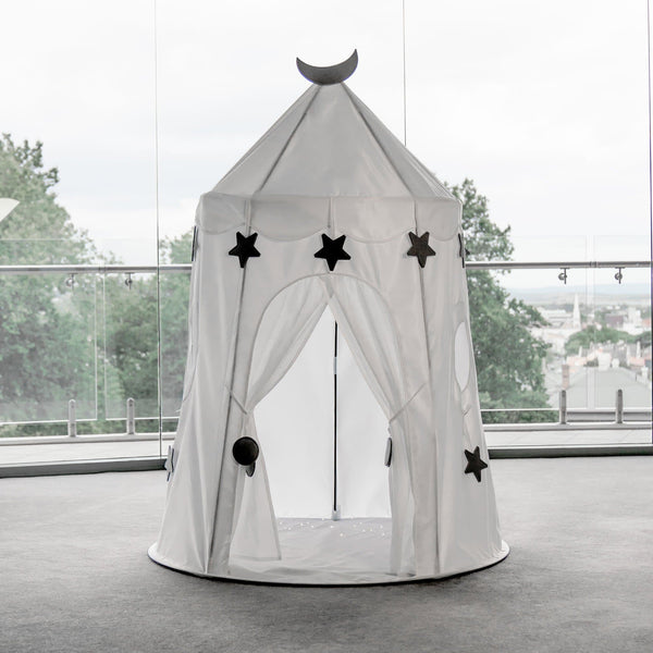 white castle play tent with grey stars and moon