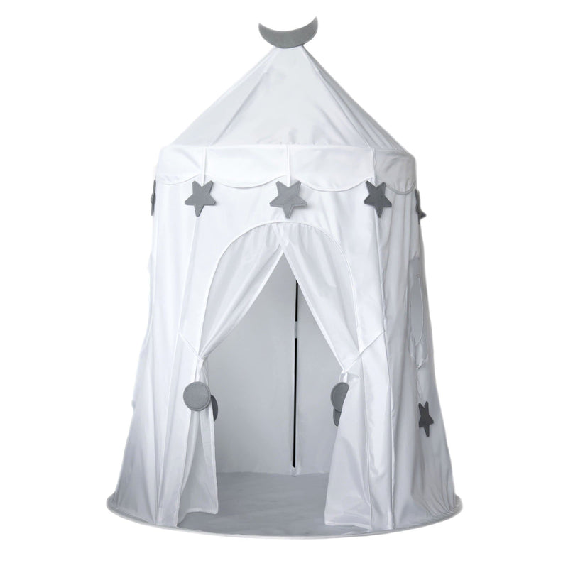 a white castle play tent with stars and moon on a white background