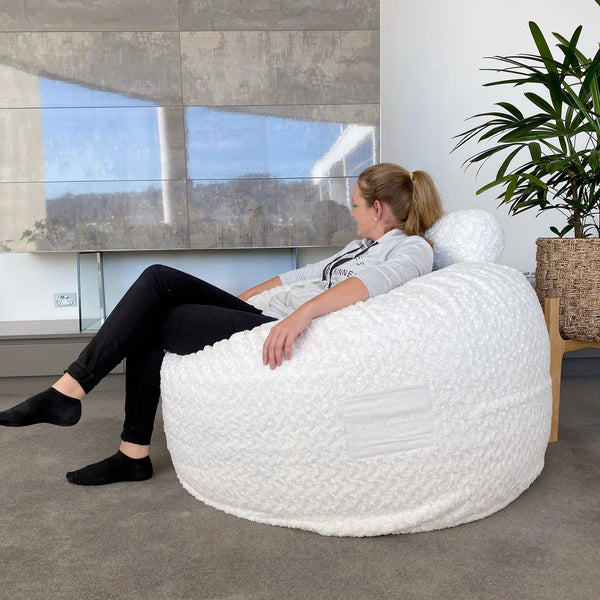 Fur Bean Bag - Grand White - Sensory Foam Filling Included