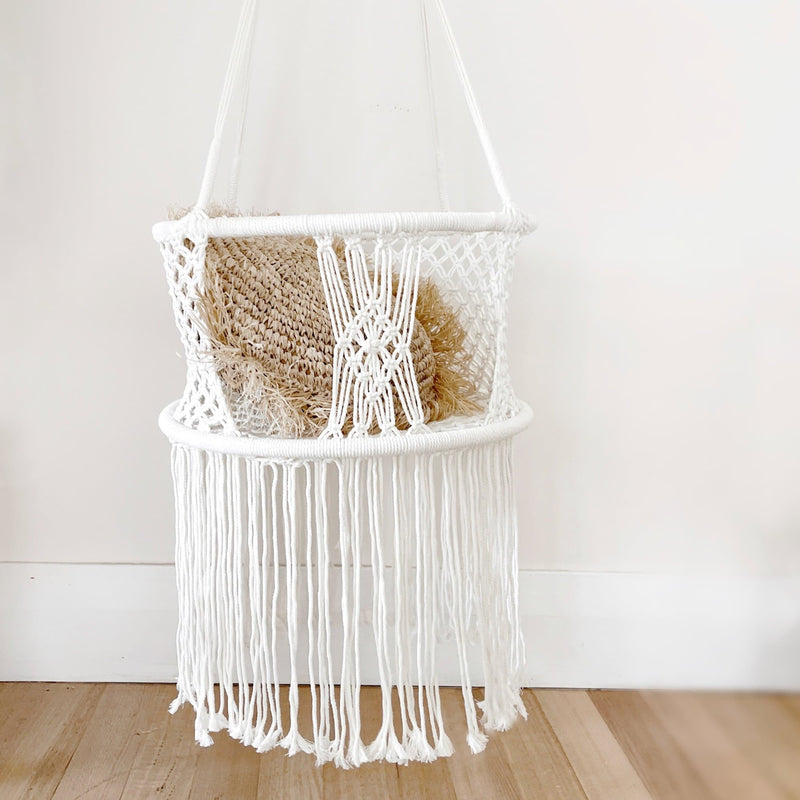round baby swing handmade macrame hammock with a rattan cushion