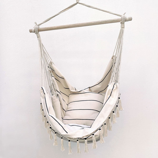 hanging hammock chair with pinstripe pattern and comes with matching cushions