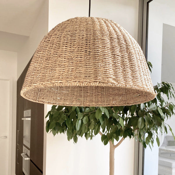 seagrass natural rattan pendant light on a white background