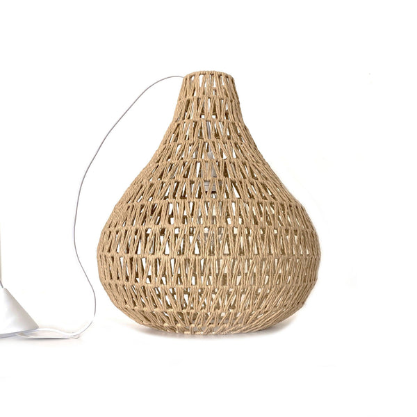 natural rope pendant light on white background