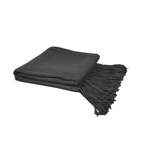 luxury charcoal bamboo blanket with fringe detail on a white background
