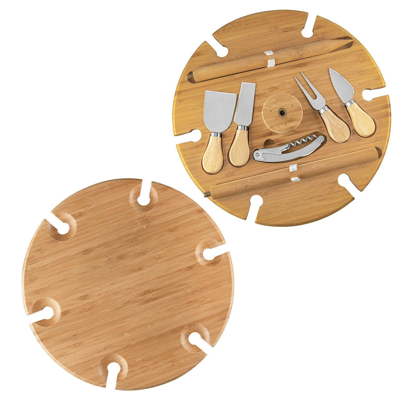 Bamboo Picnic Table with Utensils and Carry Handle