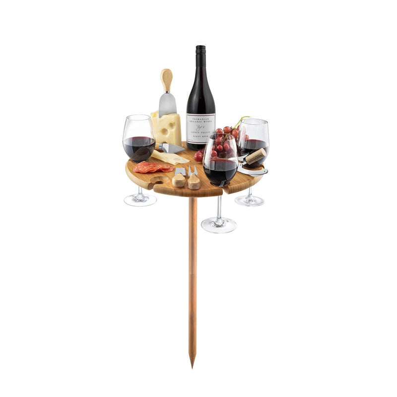 Cheese and Wine Picnic Table with Utensils